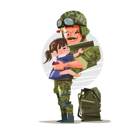 Soldier in uniform reunited with his daughter. character design. happy family - vector illustration