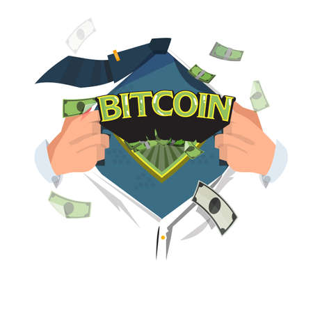 man open shirt to show bitcoin typographic in hero style - vector illustration Illustration