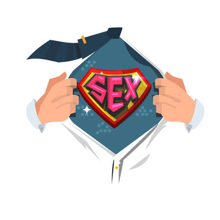 Man open shirt to show Sex typographic. Sex professional concept - vector illustration Illustration