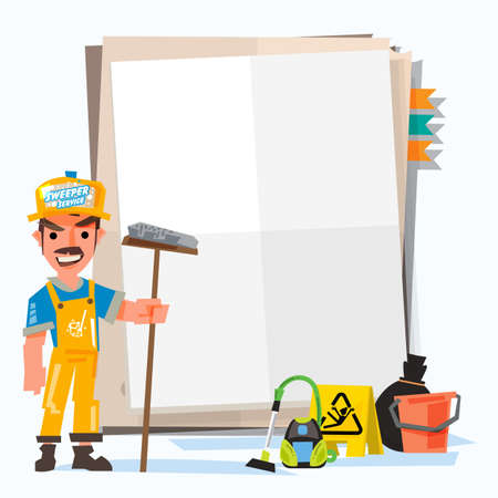 Sweeper or cleaner man with note paper for presentation. how to clean concept. character design with tools - vector illustration