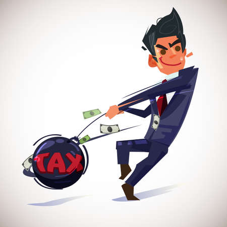 businessman throwing metal ball with text Tax - vector illustration