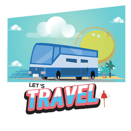 Travel bus with text Lets Travel Journey in holiday. travel by bus or motor home concept - vector illustration Illustration