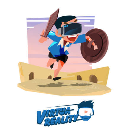 boy with wood shield and sword in hand in fighting action and wearing, virtual reality glasses. future virtual gaming concept. typographic. gladiator - vector illustration