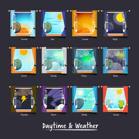 weather and daytime outside the window. weather icon concept - vector illustration