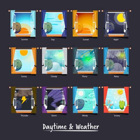 la météo et la journée à l'extérieur de la fenêtre. concept d'icône météo - illustration vectorielle