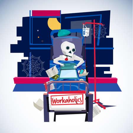 Deadly businessman working on hospital bed. work hard. workaholic - vector illustration Illustration