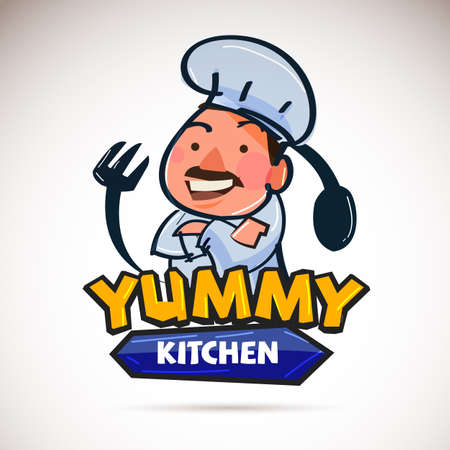 Chef logo. Yummy concept - vector illustration
