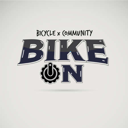 Text Bike On. racing, bike sport  or bicycle logo concept. typographic - vector illustration