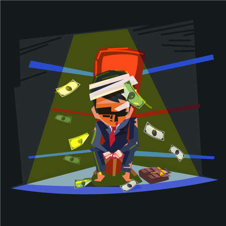 Businessman as a boxer  knocked out in boxing ring corner. loser businessman concept. character design- vector illustration Ilustração