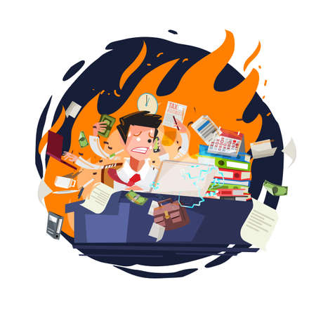 Stressed businessman working quickly and busy with fire in background. character design - vector illustration