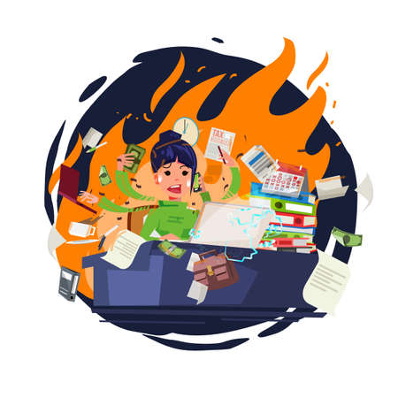 Stressed office girl working quickly and busy with fire in background. character design - vector illustration