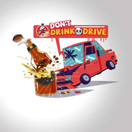 Car hitting alcohol bottles. warning text. drink dont drive concept - vector illustration Ilustração