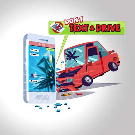 voiture frappant le smartphone lors de l'envoi d'un message texte. texte ne conduit pas le concept - illustration vectorielle