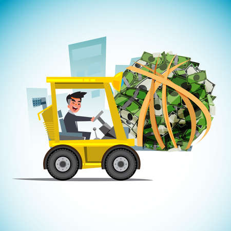 forklift car lifting money ball. money management concept - vector illustration