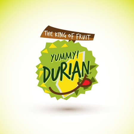 Durian logo concept. king of fruit. Yummy fruit - vector illustration