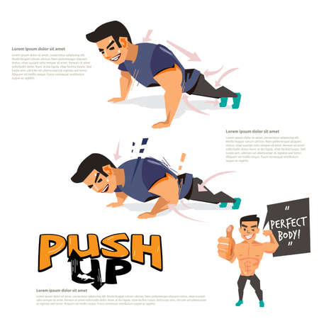 man doing push up abdominals workout posture. character design. logo fore header design - vector illustration