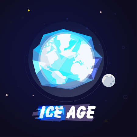 World globe in ice ball. Ice age concept with typographic or logo type - vector illustration