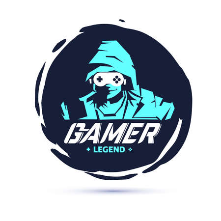 men in hood sweater in dark room. negative space with console joystick as glasses. Gamer legend. gamer logo concept - vector illustration
