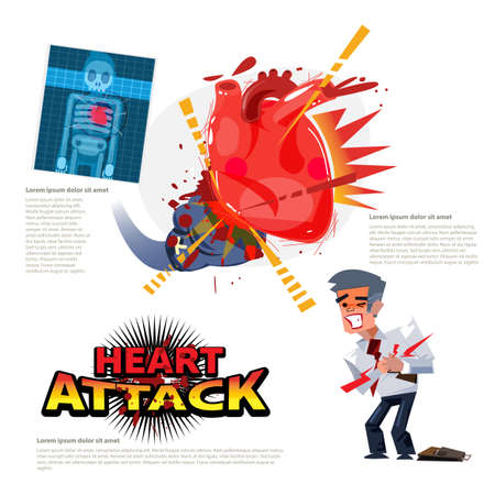 Heart Attack. Boxing glove hitting to human heart. character - vector illustration