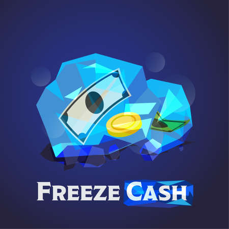 illustration of ice ball  with money inside - vector illustration 일러스트