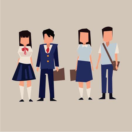 Asian student uniform. asia style - vector illustration Foto de archivo - 104184507