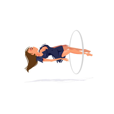 Women float in mid-air with magic loop. the magician concept. Levitation - vector illustration