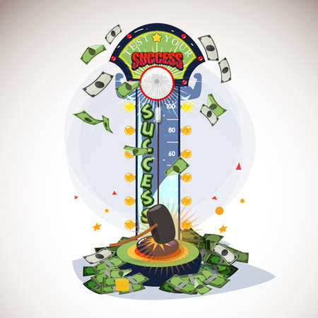 success tester machine. test you successful and money concept - vector illustration