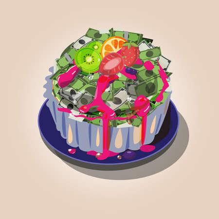 Soldi come torta crostata. denaro dolce o il gusto del concetto di denaro - illustrazione vettoriale