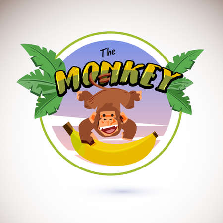 Monkey logo hanging from typographic Stock Illustratie