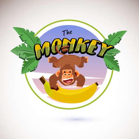 Monkey logo hanging from typographic Illustration