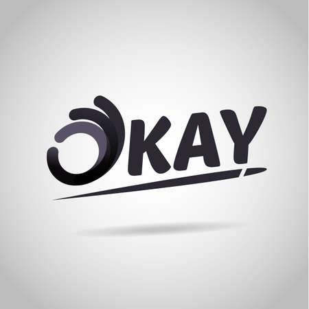 Handteken als oke symboolpictogram logo. OK Logo vector ontwerpsjabloon. typografisch - vectorillustratie
