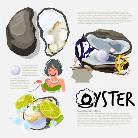 Oyster. information graphic of oyster and pearl, logo for header design - vector illustration