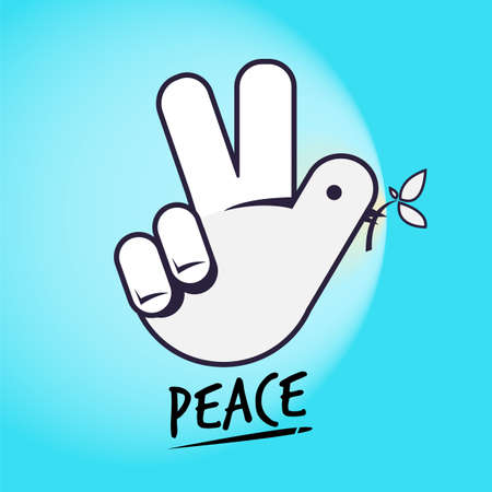 Dove and sign.  Hand as  dove. peace concept. creative hand sign - vector illustration