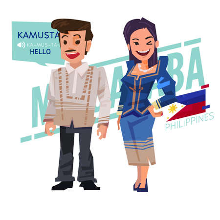 Filipino couple in traditional costume style. Philippines character design - vector illustration Çizim