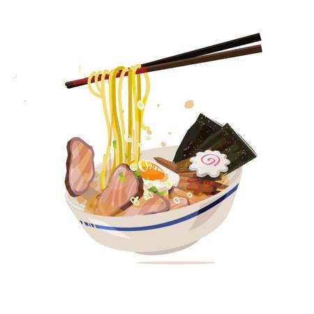 Ramen avec baguettes servi sur un bol traditionnel. cuisine de style japonais - illustration vectorielle