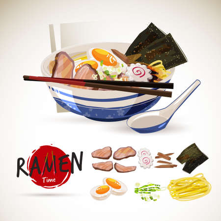 Ramen in traditional bowl with ingredient set. come with logotype or typographic for header design - vector illustration Illustration