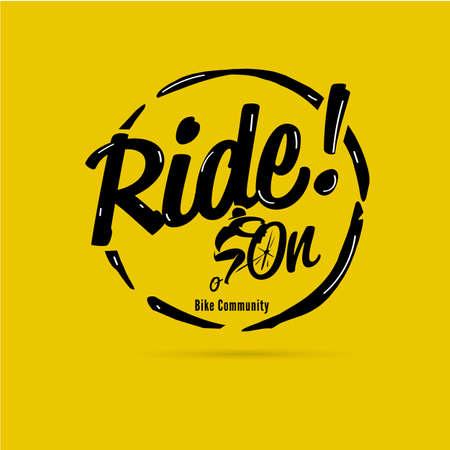 Ride On Lettering. logo for biker. vector illustration