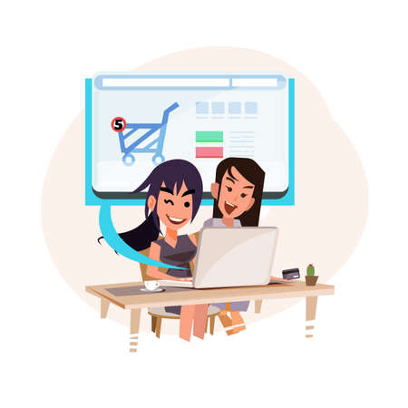 two women using computer to shopping on their website. Online shopping concept - vector illustration