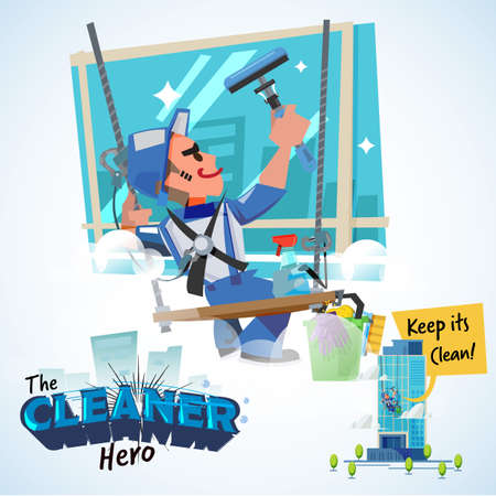 Washers man wash the windows of skyscraper. cleaning hero concept - vector illustration