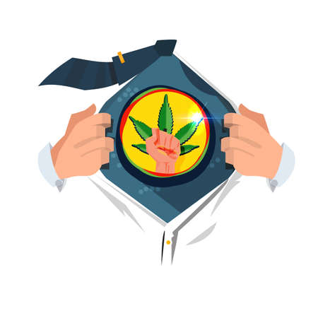 man open shirt to show weed leaf with fish hand. support marijuanas be legalized - vector illustration Stok Fotoğraf - 104184592