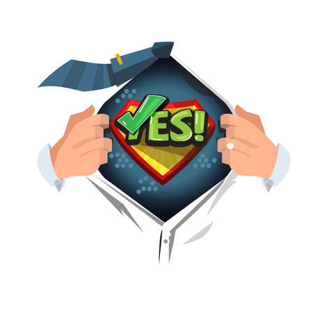 man open shirt to show Yes typographic or symbolic. say yes to everything concept - vector