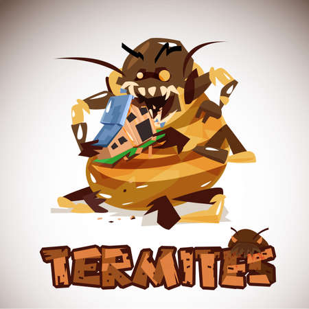 Giant Termites Monster eating your home. character design. typographic for header design - vector illustration