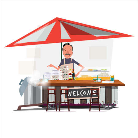 Asian noodle cart style with a merchant. street vendor. character design - vector illustration 矢量图像