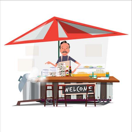 Style de chariot de nouilles asiatiques avec un marchand. vendeur de rue. conception de personnage - illustration vectorielle