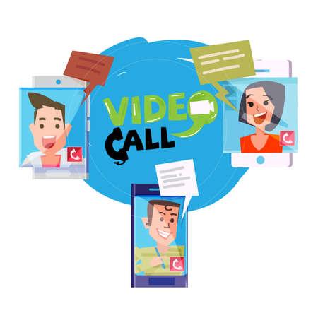 Ludzie prowadzą wideokonferencje w różnych lokalizacjach, koncepcja wideotelefonu lub wideokonferencji - ilustracja wektorowa Ilustracje wektorowe