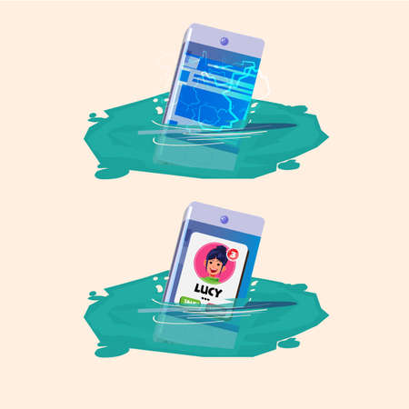 Smartphone sinking in the water while working. waterproof and no waterproof. waterproof or water resistant - vector illustration