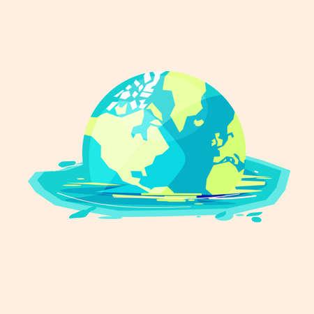 Welt, die zum Wasser schmilzt - Vektorillustration. Überflutete Welt oder globales Erwärmungskonzept - Vektorillustration