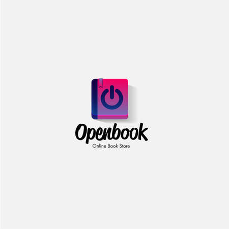 book seem like switch to open. open book store. book logo design - vector illustration