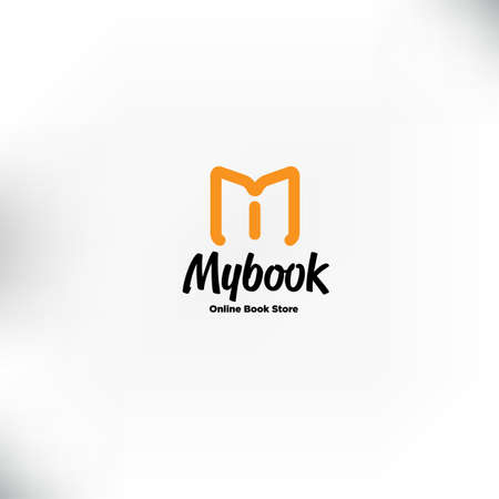 book logo template.M letter for Mobile book store, book online logo - vector illustration Illustration