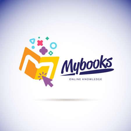Mi concepto de logotipo de libros. icono de la tienda de libros en línea - ilustración vectorial
